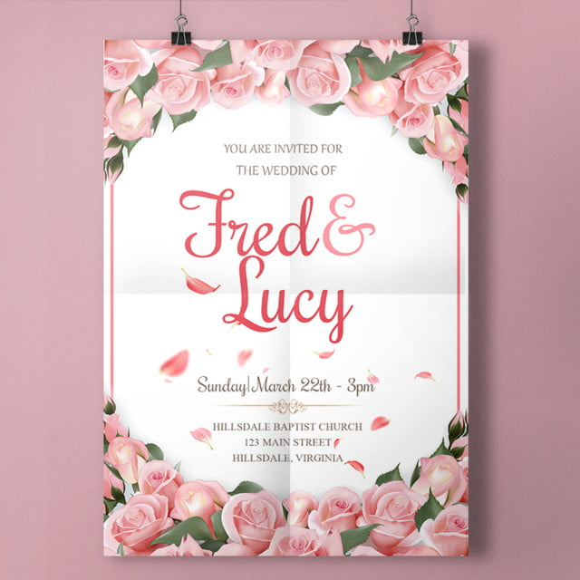 roses wedding invitation with pinl roses template for free download