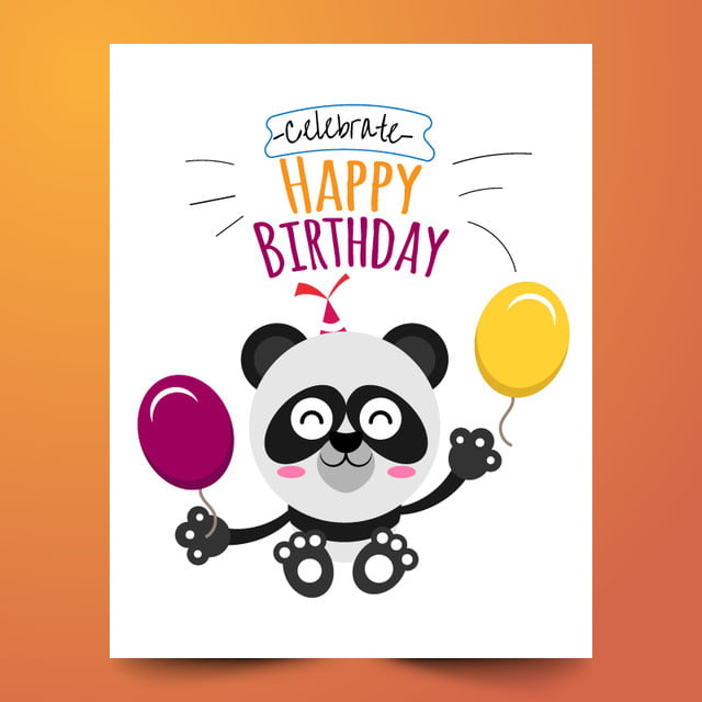 happy birthday with bear and balloons template for free download on