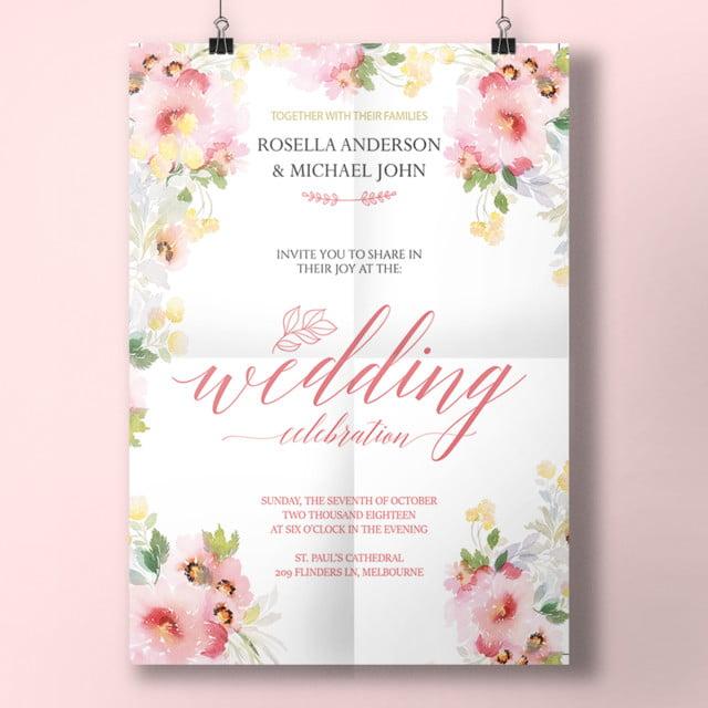 Watercolor Spring Wedding Invitation Menu Template For Free