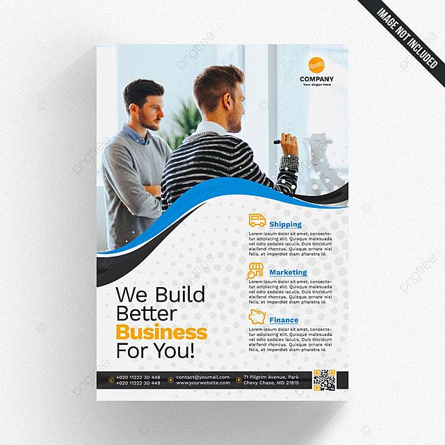 Moderne Business Broschüre Template Mit Blauen Und Gelben Formen