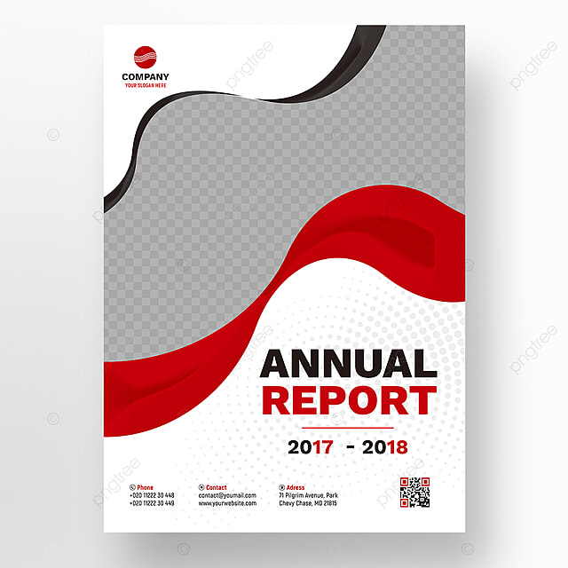 red wavy annual report template template for free download