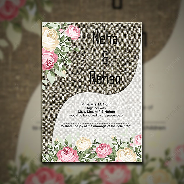 Pastel Color Fl Themed Wedding Invitation Template