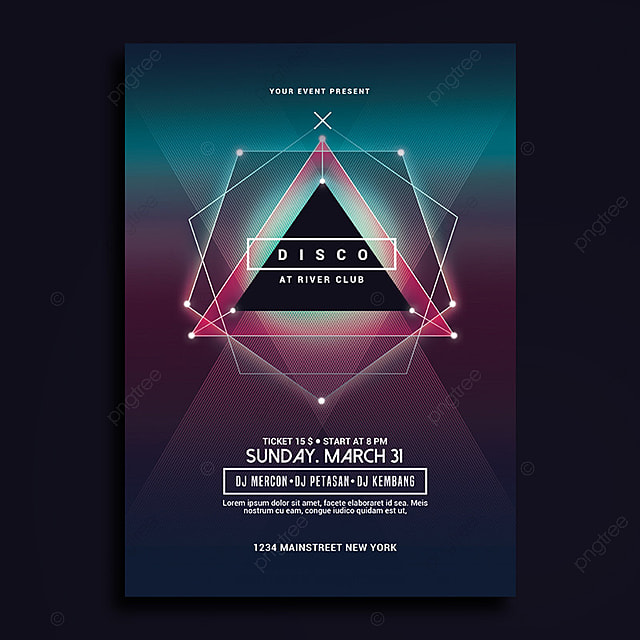Electro Disco Music Flyer Template for Free Download on Pngtree