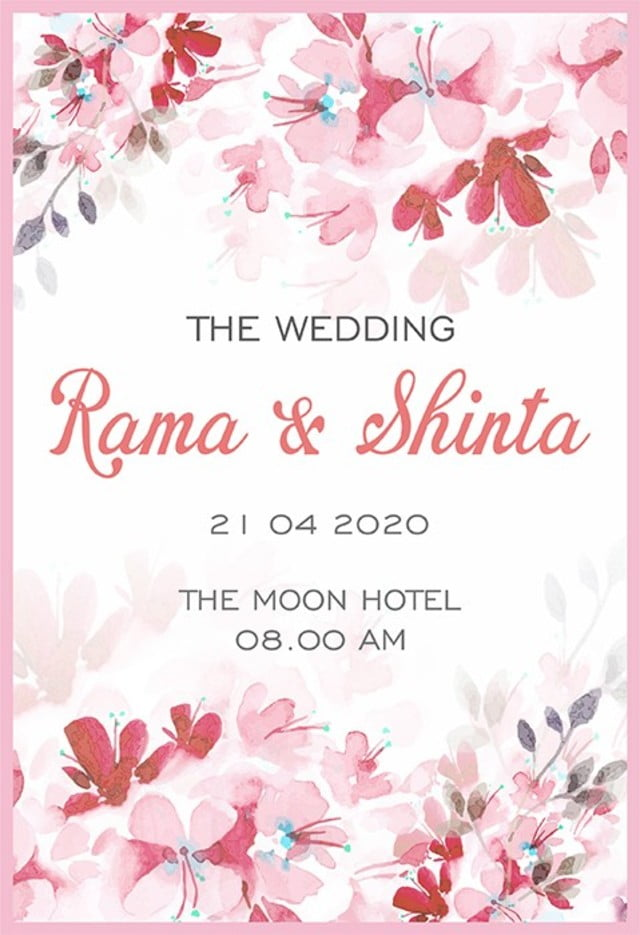 Pink Flower Wedding Card Template For Free Download On Pngtree