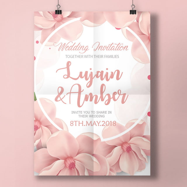 nice pink wedding invitation template template