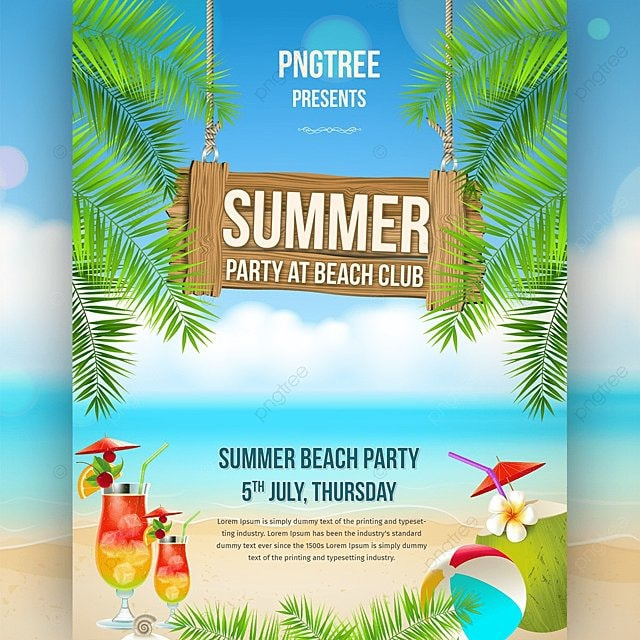 creative summer party flyer template for free download on pngtree