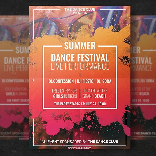 summer dance festival flyer template for free download on pngtree