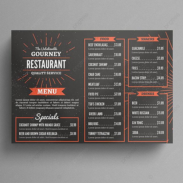 Menú del restaurante Flyer Descarga gratuita de plantilla en Pngtree