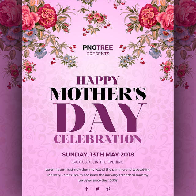 creative floral flyer of happy mothers day template for free