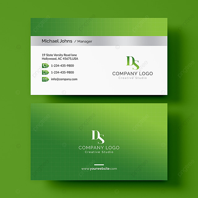 Green Business Card Template For Free Download On Pngtree