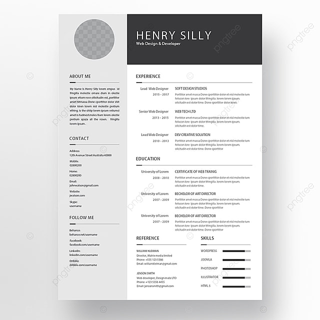 resume template for free download on pngtree