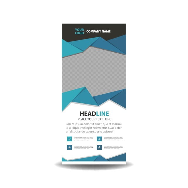 Blue Business Roll Up Banner Flat Design Template Template For Free - Name banner template