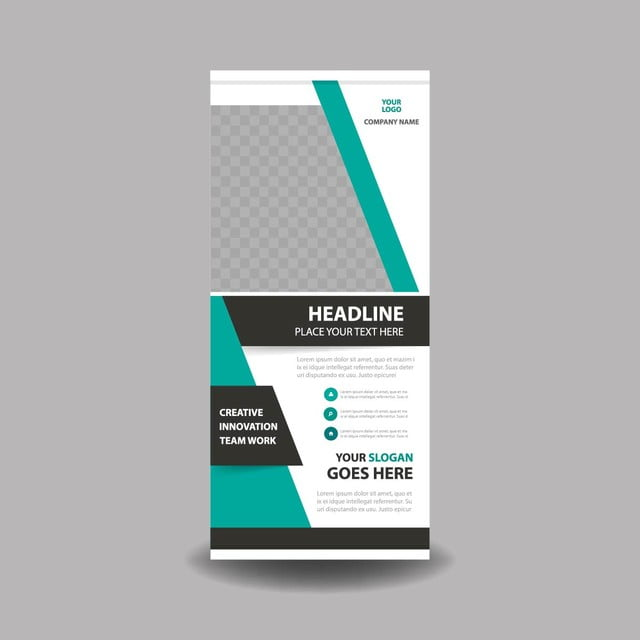 green triangle business roll up banner flat design template template