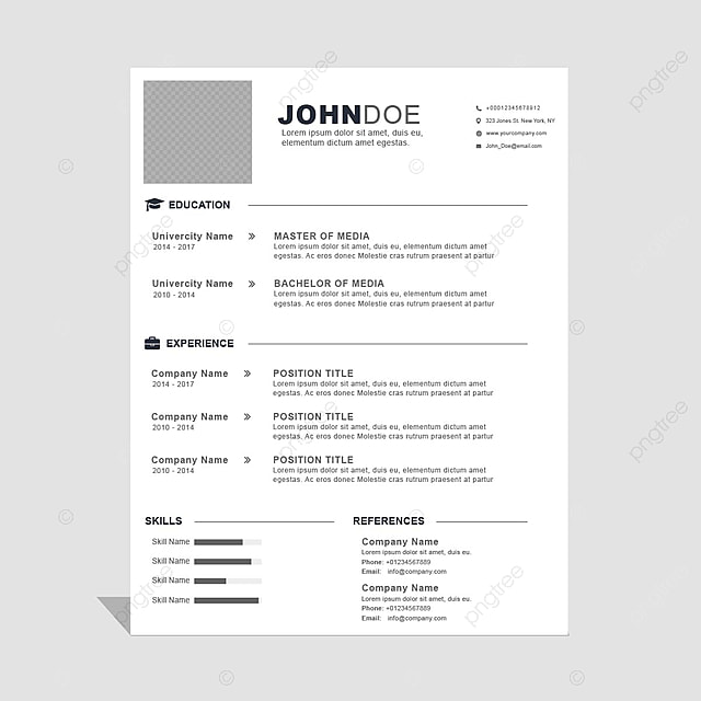 Curriculum Vitae Template Template For Free Download On Pngtree