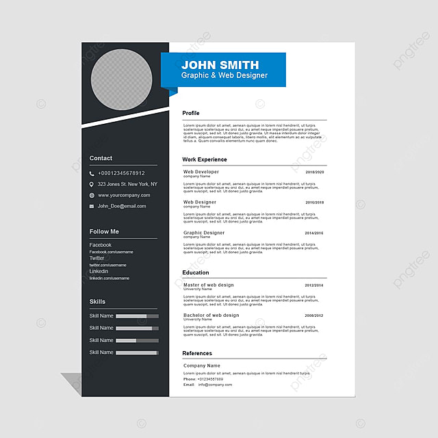 Curriculum Vitae Template Free Download | Curriculum Vitae Template Template For Free Download On Pngtree