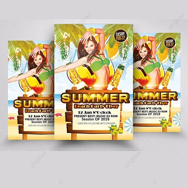 summer beach flyer template for free download on pngtree