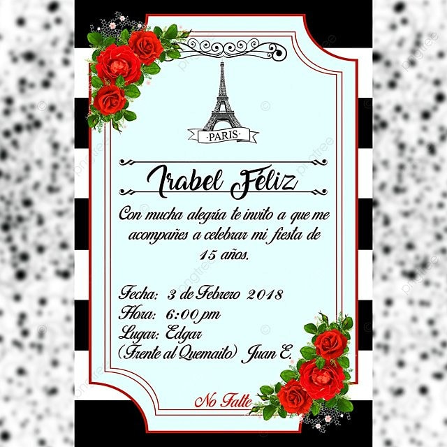 Invitacion De Torre Eiffel Descarga Gratuita De Plantilla En