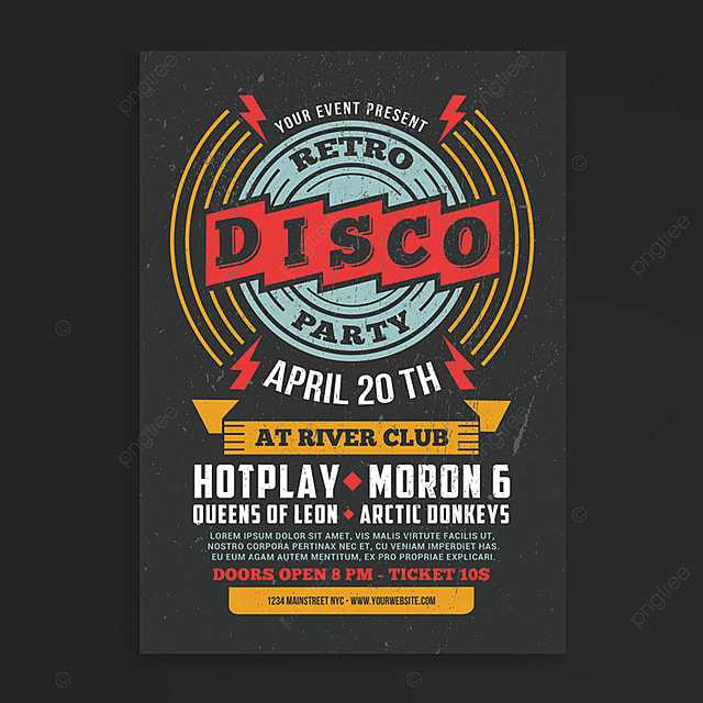 retro disco flyer template for free download on pngtree
