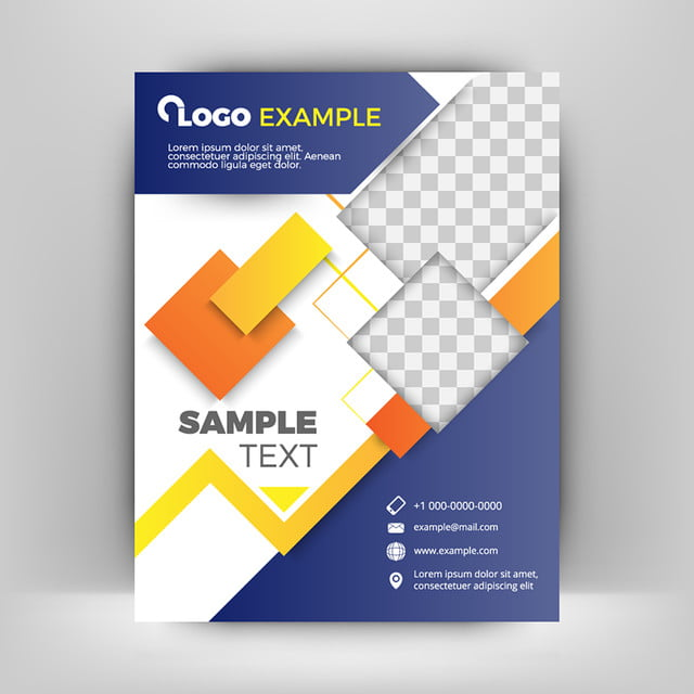 Blue And Orange Business Flyer Template Abstract Background