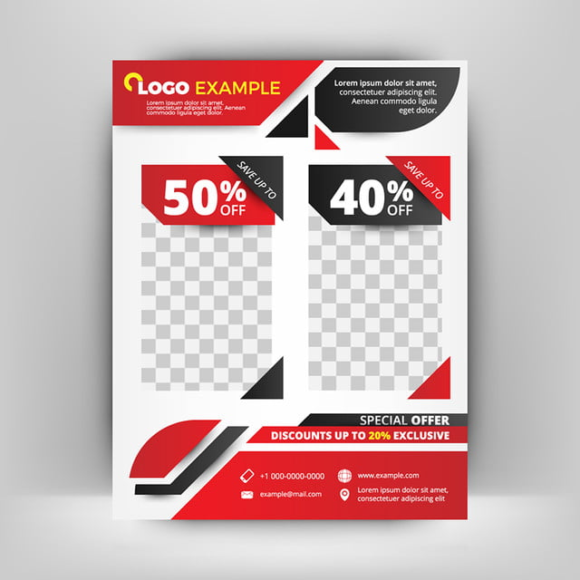 red and black business flyer template abstract background template