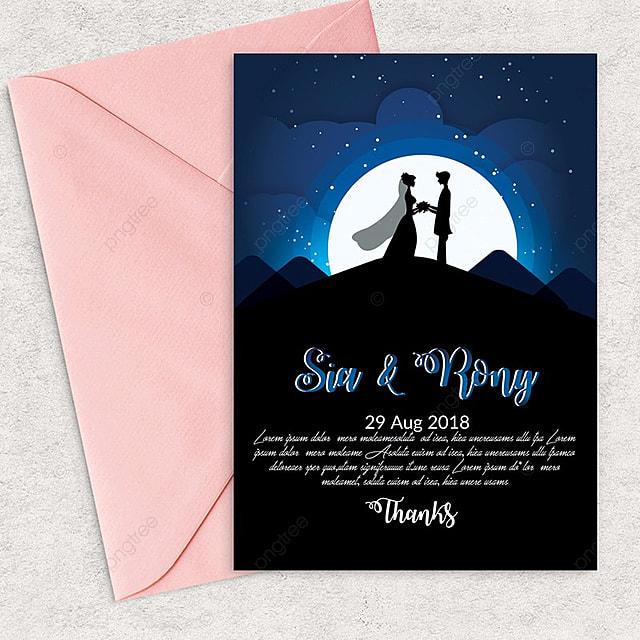 Luz de la luna, la plantilla de invitación de boda clásica, oscuro ...