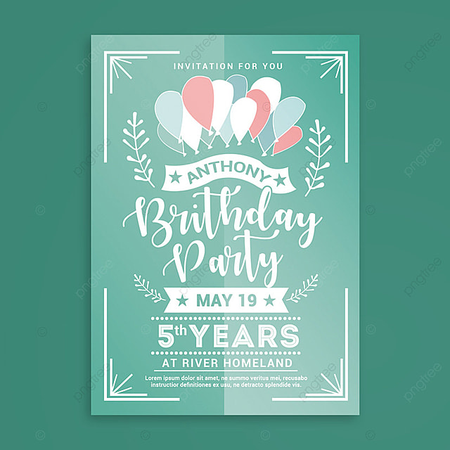 Birthday Party Invitation Template For Free Download On