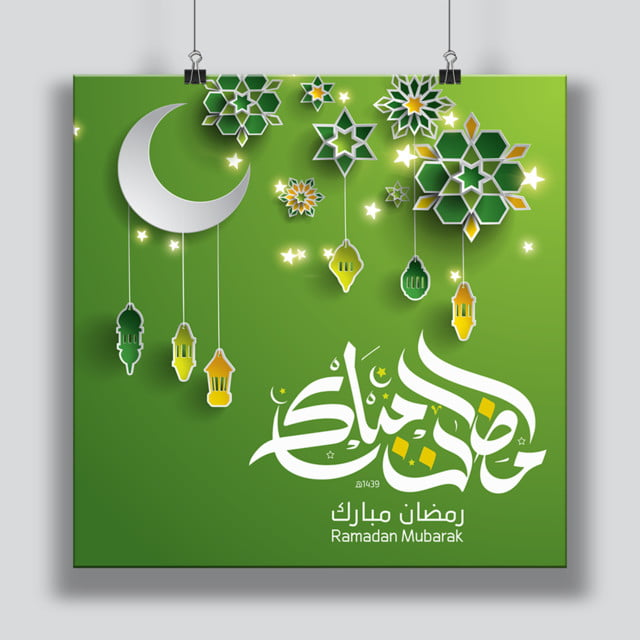 islamic greeting post green with lantern Template for Free Download