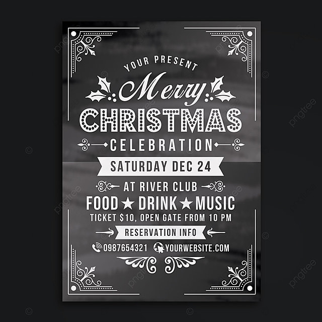 christmas celebration flyer chalk style template for free download