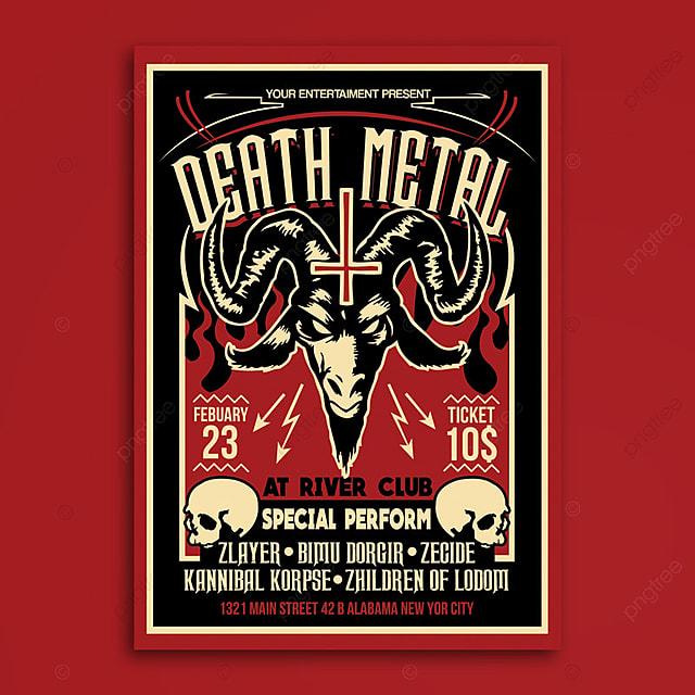 death metal satanic poster flyer template for free