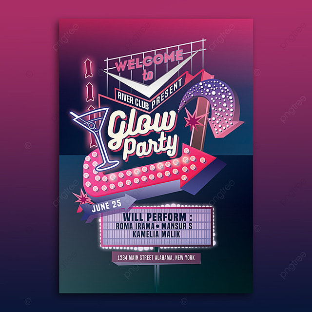 glow party neon sign flyer template template for free