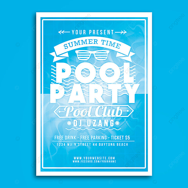 Pool party summer time flyer template for free download on pngtree pool party summer time flyer template maxwellsz