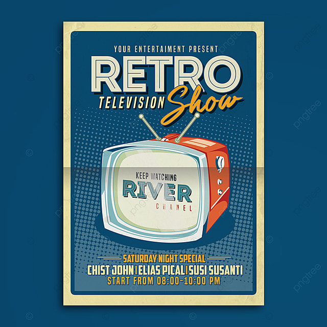 retro tv show flyer poster template for free download on
