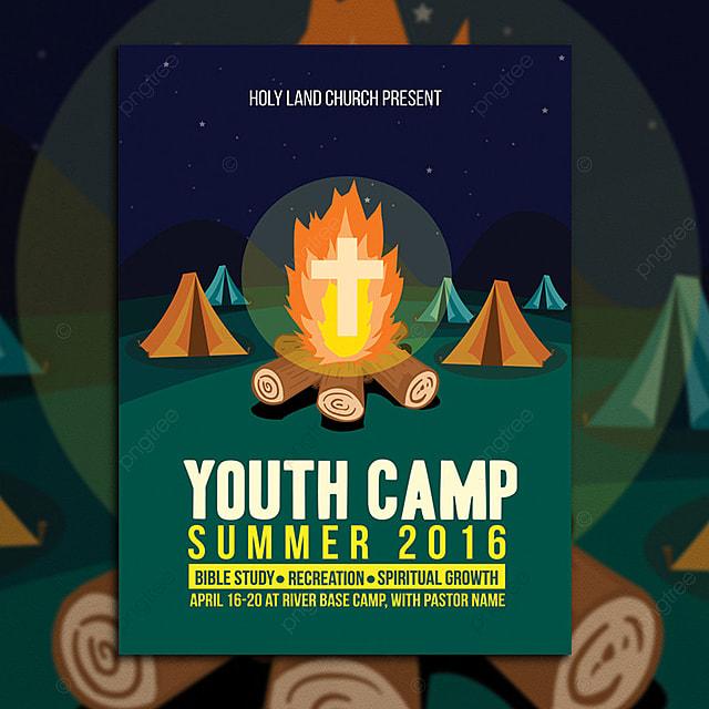 campamento de j u00f3venes iglesia flyer template descarga