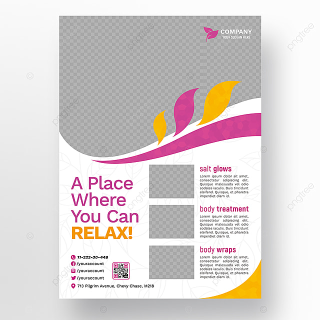 beauty and spa flyer with orange and burble details template for