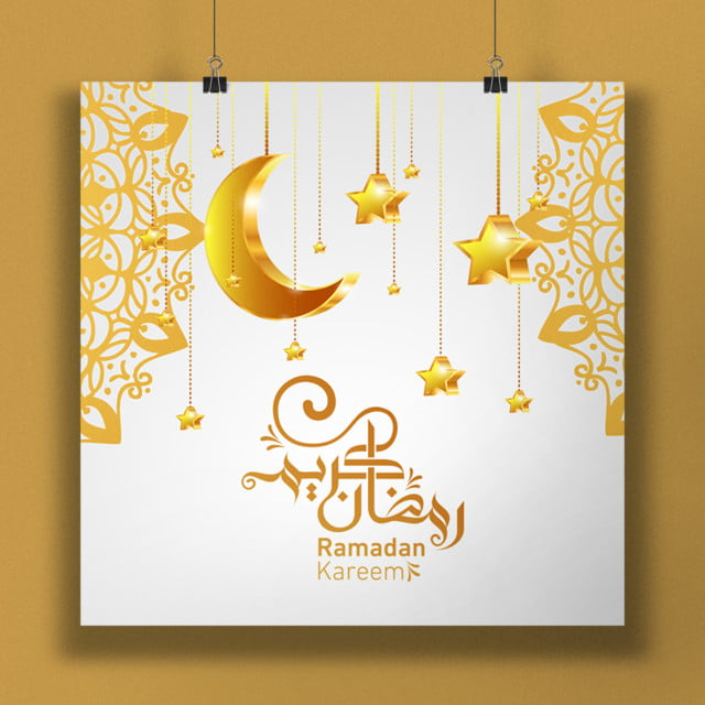 white and gold ramadan 3d moon template for free download on pngtree