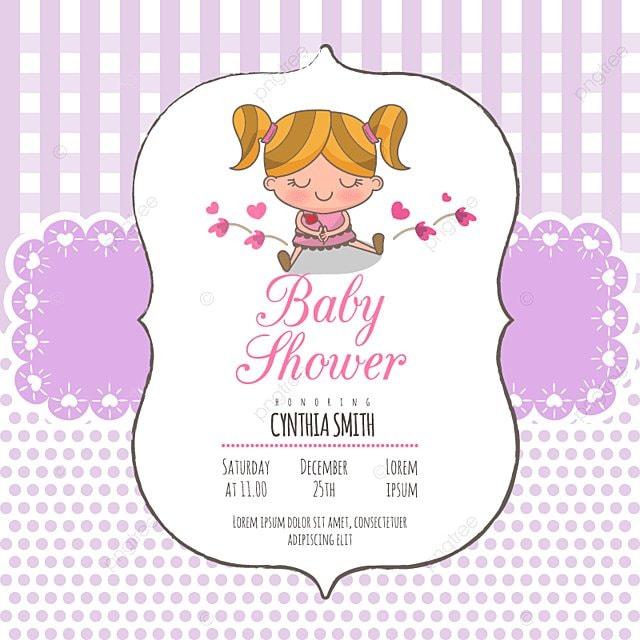 La Invitacion De La Ducha Del Bebe Niña Llegada Anuncio