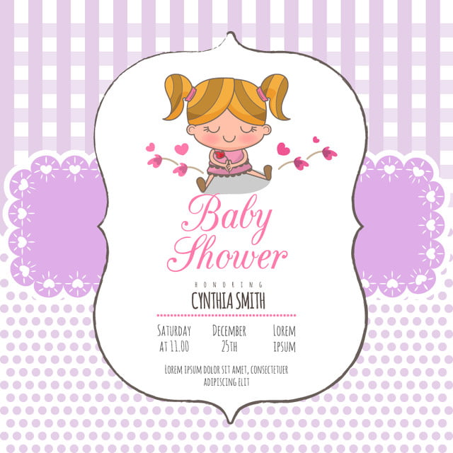 Baby Girl Shower Invitation Card Baby Arrival Announcement