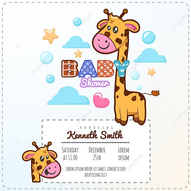 Plantilla De Invitacion Jirafa Baby Shower Gratis Descarga