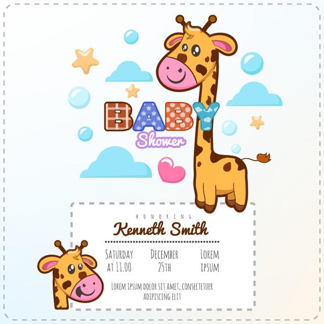 Plantilla De Invitacion Jirafa Baby Shower Gratis Descarga Gratuita