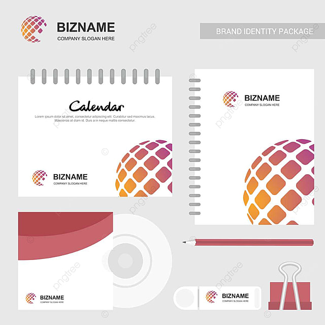 Company Stationary Items With Logo And Slogan Vector With