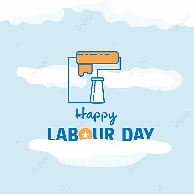 happy labour day design with theme blue and orange with construction