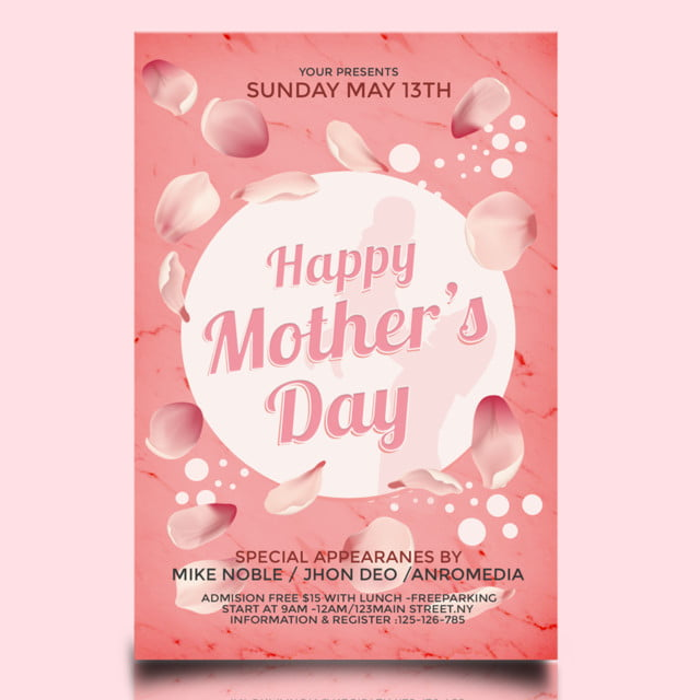 Free Mothers Day Psd Flyer Template: Pink Mothers Day Flyer Template For Free Download On Pngtree
