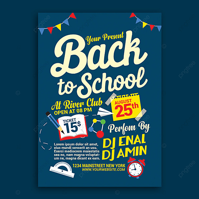 back to school flyer template for free download on pngtree