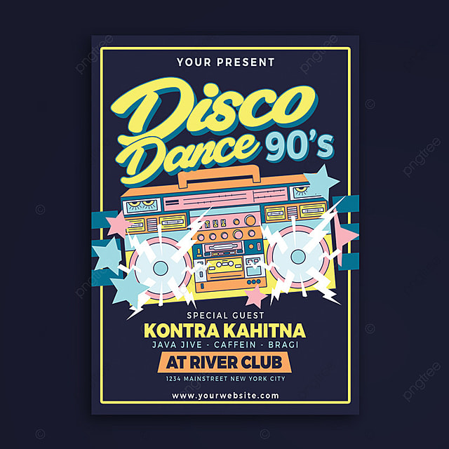 Disco Dance 90\'s Party Template for Free Download on Pngtree