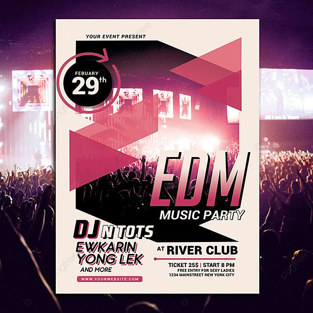 EDM Music Party Flyer Template for Free Download on Pngtree