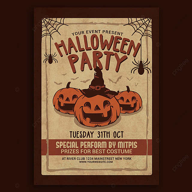 halloween party vintage flyer template for free download on pngtree