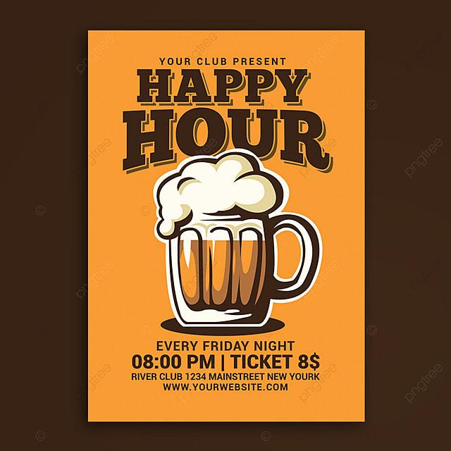 pngtreeにhappy hour beer flyerテンプレートの無料ダウンロード