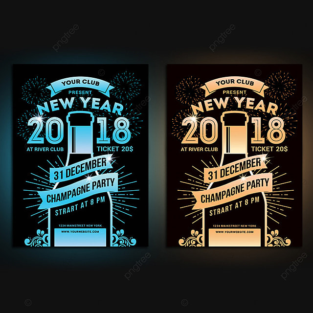 new year champagne party flyer template