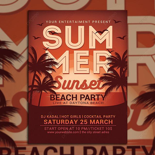 Summer Sunset Beach Party flyer Vorlage zum kostenlosen Download auf ...