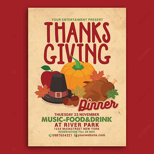 pngtreeにthanksgiving dinner celebration flyerテンプレートの無料